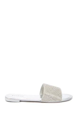Forever21 Metallic Rhinestone-embellished Slide Sandals
