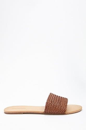 Forever21 Soda Faux Leather Woven Slides