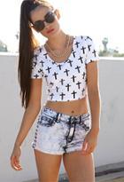 Forever21 Studded Bleached Denim Shorts