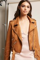 Forever21 Faux Suede Belted Moto Jacket