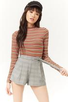 Forever21 Multicolor Striped Mock Neck Top