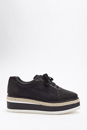 Forever21 St. Sana Satin & Lace Platform Sneakers