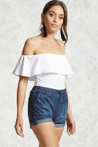 Forever21 Elasticized Denim Shorts