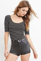 Forever21 Striped Scoop-neck Top