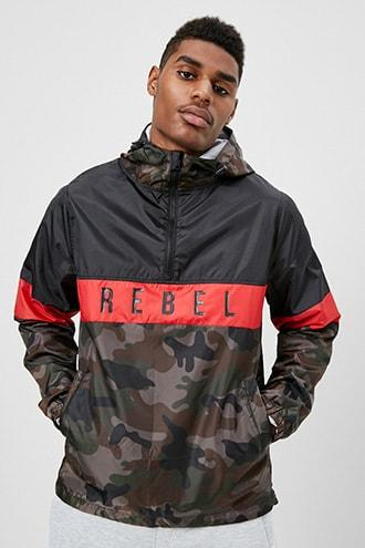 Forever21 Rebel Minds Camo Colorblock Hooded Anorak