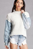 Forever21 Rehab Purl Knit Denim Sweater