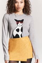 Forever21 Hipster Cat Graphic Sweater