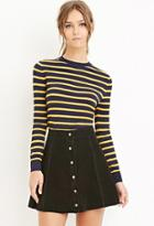 Forever21 Women's  Classic Striped Sweater (navy/yellow)