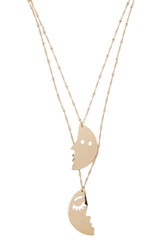 Forever21 Face Pendant Layered Necklace