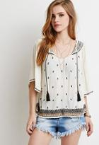 Forever21 Embroidered Gauze Peasant Top