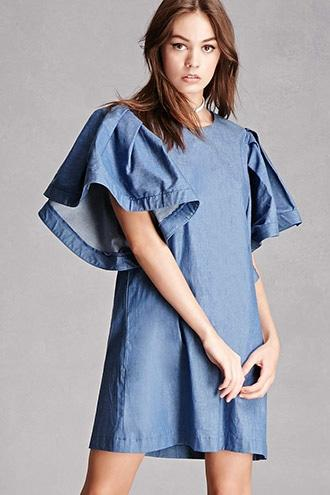 Forever21 Denim Ruffle Sleeve Dress