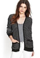 Forever21 Textured Knit Striped Cardigan