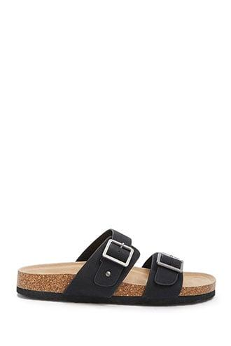 Forever21 Faux Leather Buckle-strap Slides