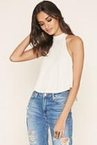 Forever21 Women's  Oatmeal High-neck Ribbed Top