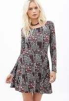 Forever21 Abstract Printed Skater Dress