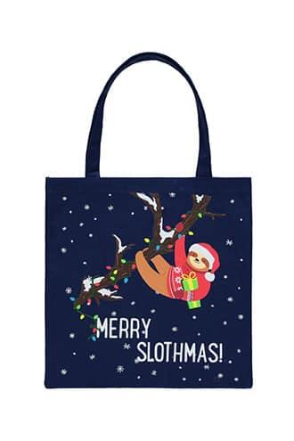 Forever21 Christmas Sloth Graphic Canvas Tote