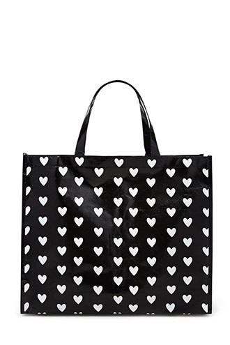 Forever21 Heart Print Glossy Eco Tote