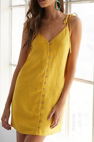 Forever21 Linen-blend Button-front Mini Dress