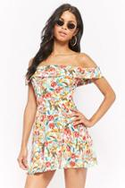 Forever21 Watercolor Floral Off-the-shoulder Skater Dress