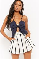 Forever21 Striped Belted Shorts