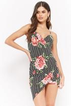 Forever21 Striped Floral Surplice Dress