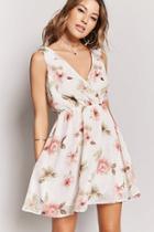 Forever21 Floral Surplice Skater Dress