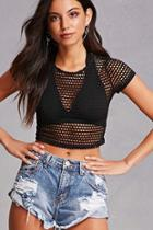 Forever21 Sheer Netted Crop Top