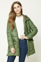 Forever21 Longline Hooded Puffer Jacket