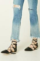 Forever21 Lace-up Faux Leather Flats