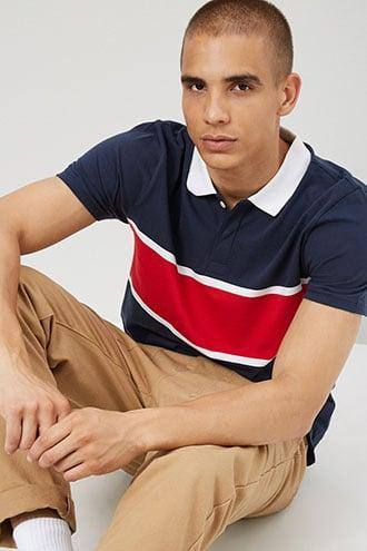 Forever21 Contrast Colorblock Polo