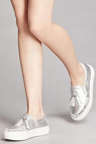 Forever21 J Slides Metallic Loafer Slip-ons