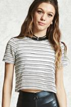 Forever21 Striped Mesh Cropped Tee
