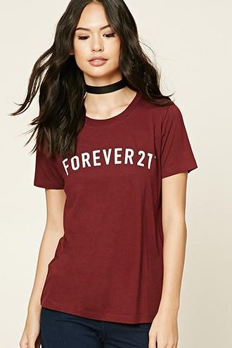 Forever21 Women's  Burgundy & White Forever 21 Graphic Tee