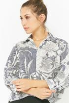 Forever21 Striped Floral Shirt