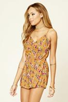 Forever21 Women's  Floral Print Cutout-back Romper