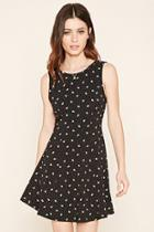Forever21 Women's  Black & Ivory Floral Print Skater Dress