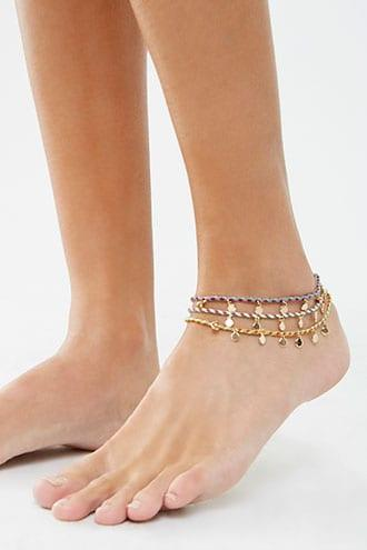 Forever21 Layered Disc Charm Anklet Set