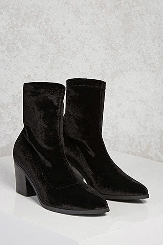 Forever21 Velvet Chunky Heel Boots