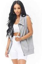 Forever21 French Terry Drawstring Zippered Vest