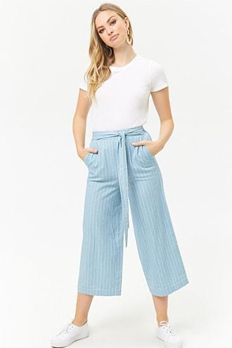 Forever21 Pinstriped Cropped Pants