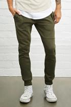 21 Men Men's  Olive Tiered-stitch Joggers