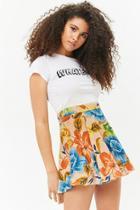 Forever21 Floral Skater Mini Skirt