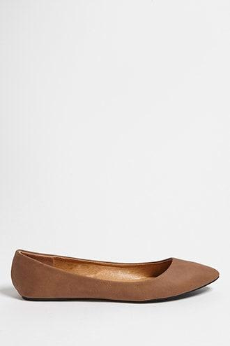 Forever21 Faux Leather Pointed Ballet Flats