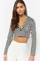 Forever21 Striped Cropped Blazer
