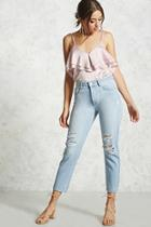 Forever21 Distressed Straight-leg Jeans