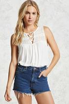 Forever21 Crochet Yoke Top