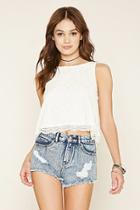 Forever21 Women's  Denim Washed Distressed Denim Cutoffs