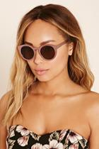 Forever21 Pink & Brown Metal Round Sunglasses