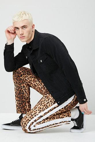 Forever21 Leopard Print Striped-trim Track Pants