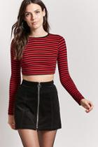 Forever21 Contrast Striped Crop Top